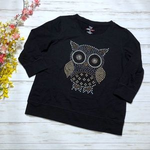 Style & Co. Black Owl Beaded 3/4 Sleeve Pullover